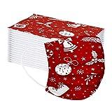 Blingko 50/100 Stück Mundschutz Einweg Kinder Weihnachten 3Lagig Mund und Nasenschutz Mit Motive Atmungsaktive Lustig Weihnachtsmotiv Sport Bandana für Jungen Mädchen