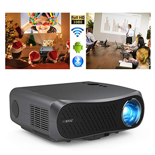 Full HD Outdoor Movie Projector Wireless Smart Android OS Bluetooth, 7000lumen Native 1080P Home Theater Video Projector with HDMI USB VGA AV Built-in Speakers Support 4K