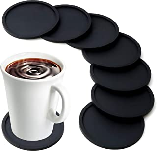 MarhJean Silicone Drink Coasters Set of 8, Anti-Slip Durable Reusable Coasters for Glasses Cups Mugs, Perfect To Protect Patio Furniture, Dinner Table or Bar, No More Water Rings and Wet Sticky Tables