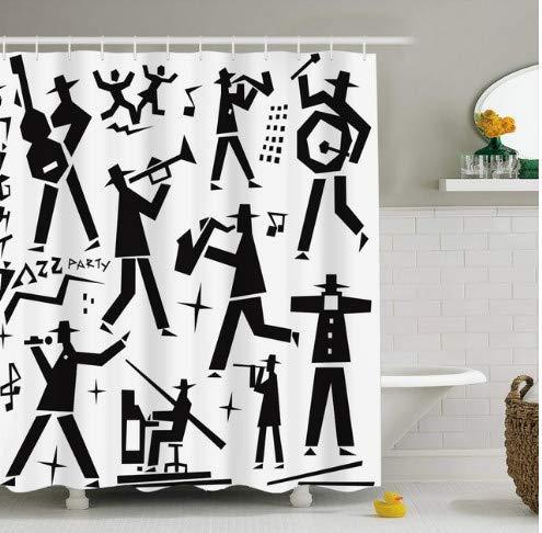 daimin Musikinstrument Klavier Violine Print Polyester Duschvorhang mit Haken Konzert 3D wasserdichte Badvorhänge für Badezimmer 180x200cm