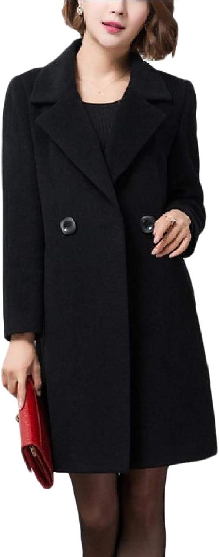 TaoNice Women's Mid Long Classics Notch Lapel Fleece Formal Duffle Coat