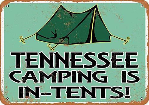 882 BOPNMJ Tennessee Camping Is In-Tents 20 x 30 cm Vintage Metal Placa de pared Cartel para Cafe Bar Pub Bar Cocina o Tienda
