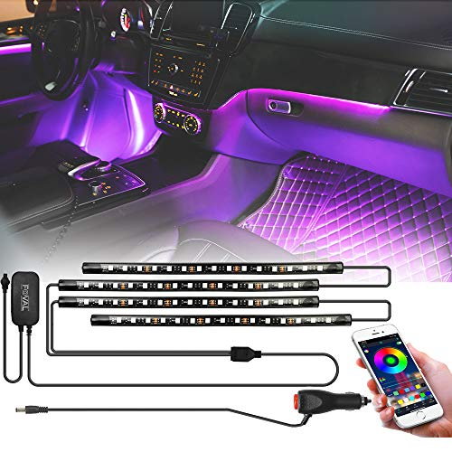 FOVAL Led Car Light Interior, 4pcs 60 Led Strips Lights for Car by APP Control, DIY Colors Music Microphone Control Under Dash Atmosphere kit RGB Lights for iPhone Android with Car Charger, DC 12V