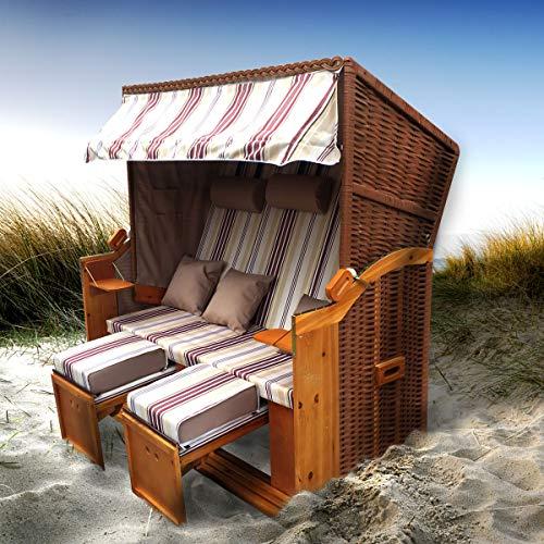BRAST Strandkorb Ostsee 3-Sitzer 165cm breit Rot Beige gestreift XXL Volllieger incl. Schutzhülle Gartenliege Sonneninsel Poly-Rattan