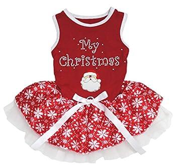 Petitebella My Christmas Santa Claus Red Shirt Puppy Dog Dress  Red Snowflakes Tutu XXX-Large