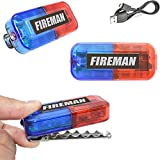 LED Fireman Costume Toys Car Bike Lights, Ultra Bright Blue & Red Clip on Light, Firefighter Role Play Dress Up Gifts for Kids Boy Toddler Men Adults, Flashlight for Birthday Glow Party Favor Supplies