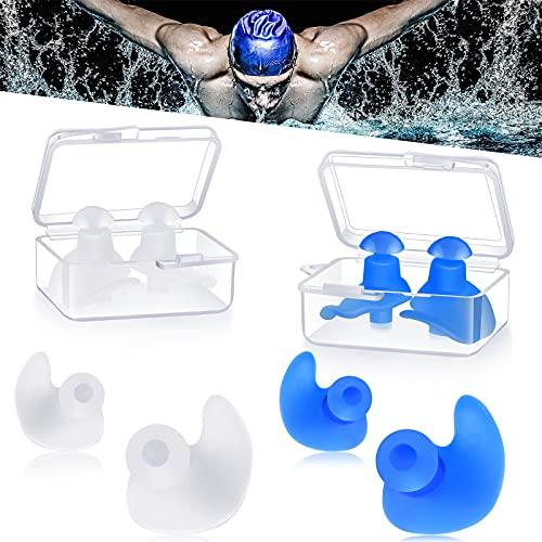 4 Paare Ohrstöpsel Schwimmen,Ohrenschutz Wasser Wasserdichte Wiederverwendbare Silikon Schwimmen Ohrstöpsel zum Schwimmen Duschen Baden Surfen Schnorcheln für Kinder Erwachsene (Weiß und Blau)