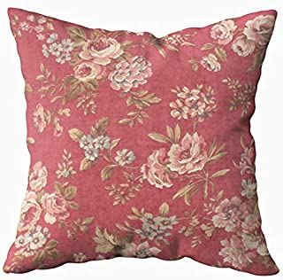 TOMWISH Hidden Zippered Pillowcase Vintage Elegant Girly Pink red Blue Brown Roses Lumbar 20X20Inch,Decorative Throw Custom Cotton Pillow Case Cushion Cover for Home Sofas,bedrooms,Offices,and More