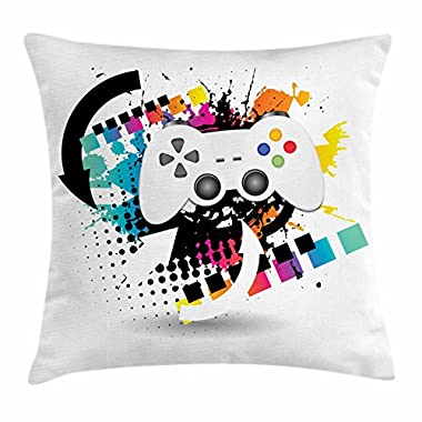 Lunarable Gamer Throw Pillow Cushion Cover, Modern Console Game Comtroller with Halftone Motif and Color Splashes Background, Decorative Square Accent Pillow Case, 16 X 16 Inches, Multicolor