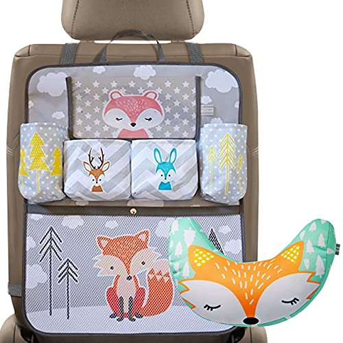 Brunoko organizador multifuncional para asiento coche + almohada cinturon para bebé reposacabezas Set -Accesorios perfectos para viaje en coche con niños, accesorios carrito 2 en 1 -Diseñado en España