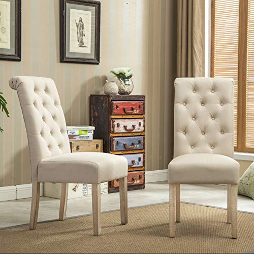 Roundhill Solid Wood Tufted Parsons Dining Chair