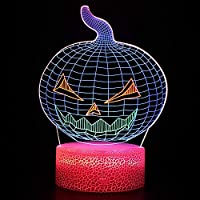 YPDWYJL 3D子供用ランプカボチャハロウィンLEDナイトライト寝室雰囲気ランプベッドサイドランプ16種類の色が変わるホリデーギフト