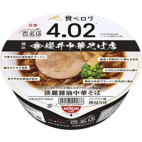 日清×食べログ 百名店 櫻井中華そば店 淡麗醤油中華そば 123g ×12個