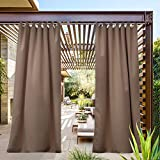 NICETOWN Outdoor Curtain Tab Top Extra Long Drapery for Pool, Thermal Insulated Privacy Protected Window Covering Waterproof for Pavilion (1 PCs, 52 x 108-Inch, Tan)