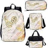 Juego de mochila escolar y bolsa de almuerzo de 17 pulgadas, diseño de tatuaje figuras animales 4 en 1 mochila