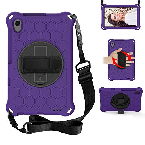 BAUBEY Kids Galaxy Tab A 8.4 Case (2020), SM-T307/SM-T307U Case,Drop & Shockproof Hybrid Case with 360 Rotating Stand Hand Strap Shoulder Strap Tablet Cover (Purple+Black)