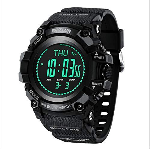 LHFJ sporthorloge waterdichte militaire pols-digitale horloge voor mannen grote gezichts-achtergrondverlichting klok voor buiten wandelen, klimmen
