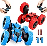 RC Cars Stunt Car Toy 2 Pack, Infityle 4WD Remote Control Cars, Double Sided Rotating Vehicles 360° Flips, Kids Toy Cars for Boys & Girls Birthday (Red and Blue)