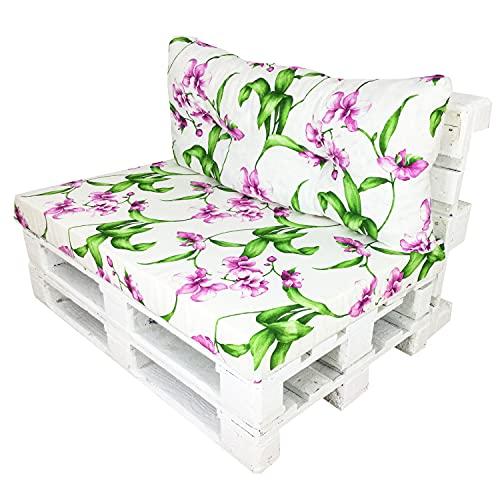 Happy Life Conjunto de Cojines (Asiento + Respaldo) para Sillones de Palets. Ideales para Uso en Interiores o Exteriores (Orquídeas)