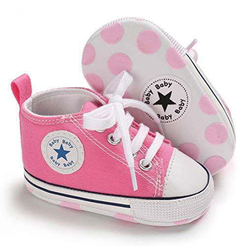 Baby Boys Girls Star High Top Sneaker Soft Anti-Slip Sole Newborn Infant First Walkers Canvas Denim Shoes (12cm, A-Pink, 6-12 Months)