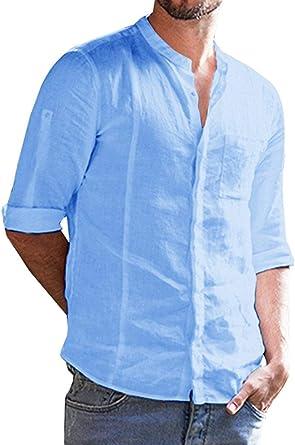 Camisa de manga corta para hombre de algodón y lino, corte ajustado, para verano, tiempo libre, manga 3/4 C-azul.