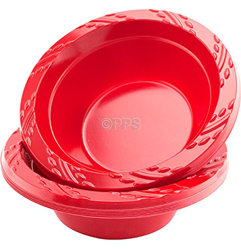 Party & Paper Solutions 24 X RED PLASTIC BOWLS - 12oz/15cm Great for Parties