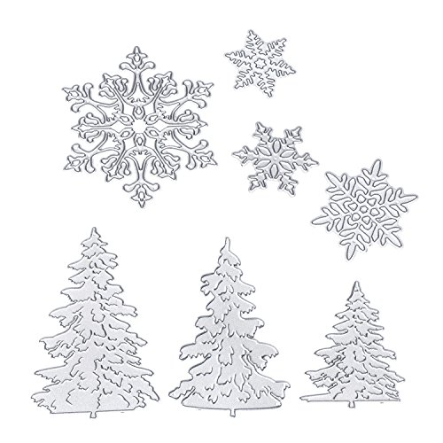 BBTO 7 Pieces Christmas Snowflakes Cutting Dies Metal Christmas Tree Stencil for DIY Scrapbook Album Paper Card