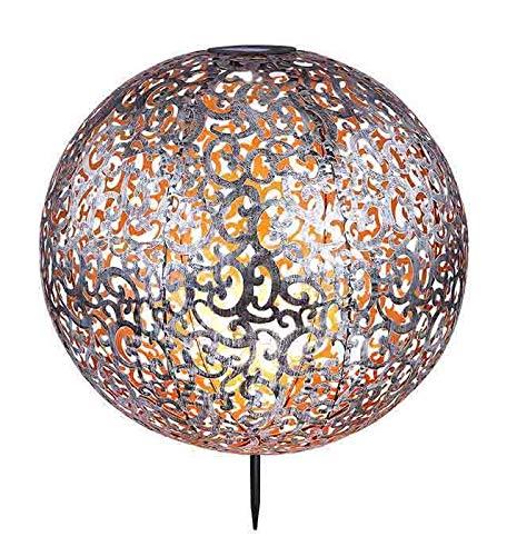 Solarleuchte Garten für Außen Deko Solarlampe LED Gartenlampen Solar Silber (Erdspieß, Dekoleuchte, Antik Optik, Durchmesser 40 cm, Große Kugel)