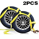 Tow Dolly Straps with Twisted Snap Hooks (2 Pack)- Essential Car Dolly Straps Harnes -Tire Bonnet & Tire Net Tow Dolly Basket Straps