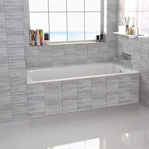 Fine Fixtures Tile-In White Soaking Bathtub, Built in tile flange Fiberglass Acrylic Material (60' x...