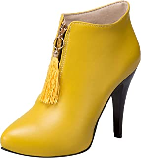 CUCAMM Booties for Women, Winter high-Heeled Retro Style Tassel Front Zipper Shoes Boots