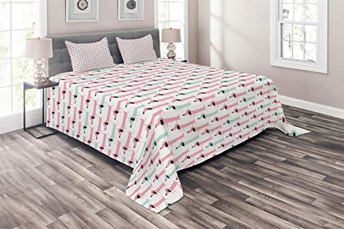 Dachshund 4 Piece Duvet Cover Flat Sheet and 2 Pillow Shams Bedding Set for Adult/Kids/Children/Teens, Full Pattern with Funny Stylized Cartoon Sausage Dogs, Pale Seafoam Pale Pink and Charcoal Grey