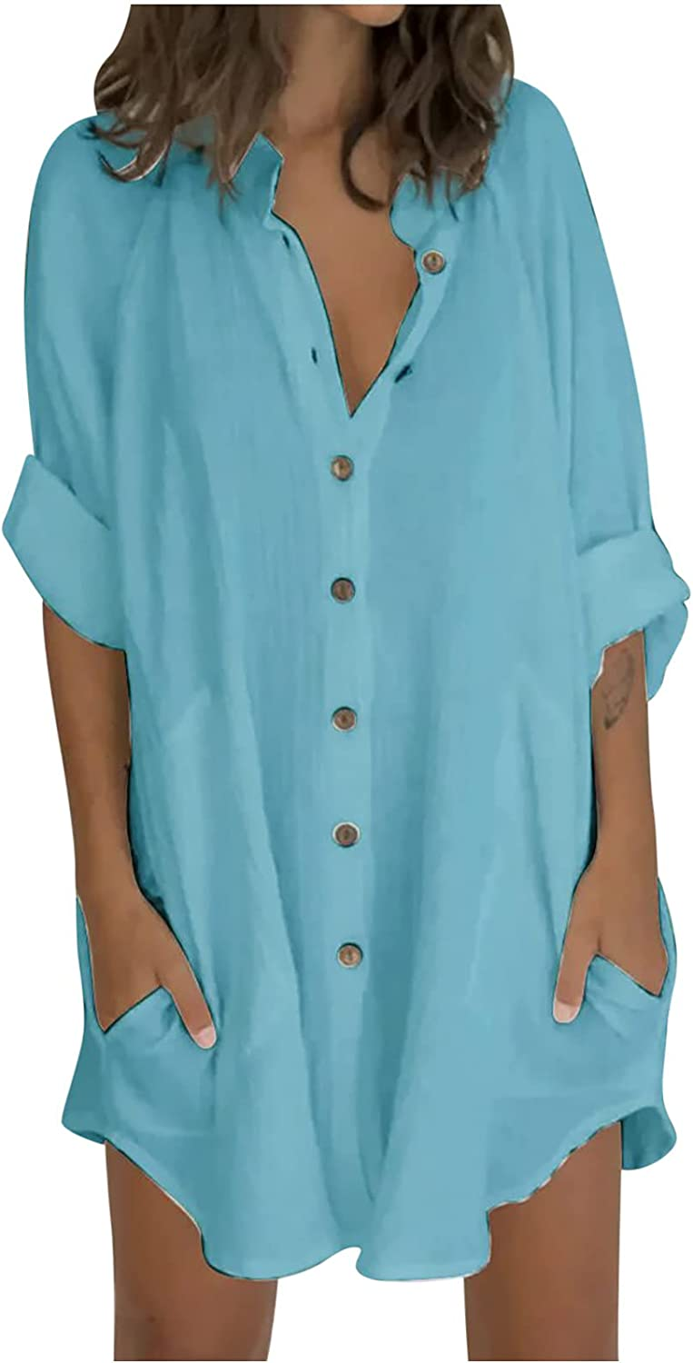 5665 Women Button Down Shirt Dress Short Mini Dress 3/4 Sleeve Solid Color Patchwork Casual V Neck Tunic Top Blouse