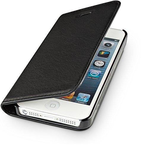 WIIUKA Echt Ledertasche -TRAVEL Nature- für Apple iPhone 5 / 5S / SE -DEUTSCHES Leder- Schwarz, mit Kartenfach, extra Dünn, Tasche, Leder Hülle kompatibel mit iPhone 5/5S/SE