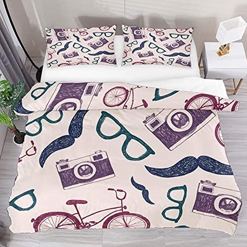 ATZTD Juego de ropa de cama transpirable para ropa de cama de estilo vintage, para cámaras y gafas, 3 piezas, funda de edredón (1 funda de edredón y 2 fundas de almohada), microfibra ultra suave