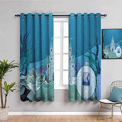 JYDFC Blackout Curtains for Bedroom Eyelet - 3D Digital Printing Perforated Curtains - Living Room Bedroom Kitchen Nursery Curtain - 104X83 Inch - Blue Ocean Bottom Plants