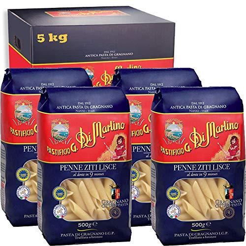Penne Zite Lisce | 5kg Maxi Formato | Antica Pasta di Gragnano Igp | Pastificio Di Martino | Confezione 10 Pezzi da 500Gr | Eccellenza della Campania | 100% Grano Italiano | Idea Regalo