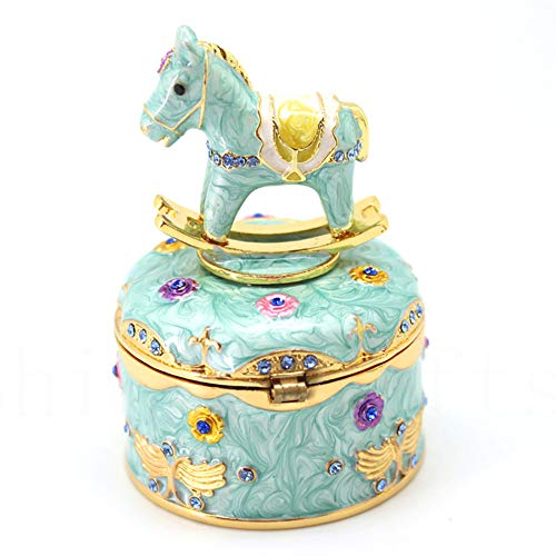 Jewelry Box Sparkly Trinket Box Hinged Trinket Box Bling Treasure Box Collectible Figurine Jewelry Holder Earrings Ring Box for Christmas, Proposing and Home Décor (Carousel Horse)