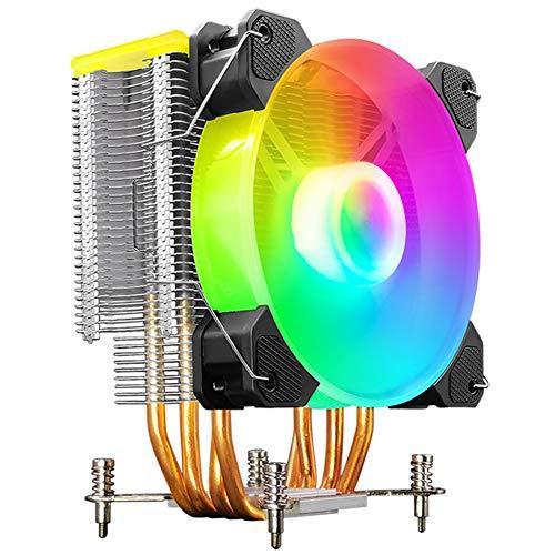 CIDZA Enfriador de CPU ARGB soporte silencio plataforma Intel/AMD 4 tubos de calor multi-plataforma general ordenador ventilador CPU Control independiente de LED