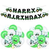 Geburtstag Banner Traktor Girlande Bunting und 15 Luftballons für Farm Dekoration Traktor Party Supplies