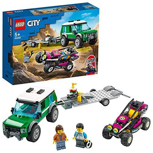 LEGO 60288 City Rennbuggy-Transporter Truck mit Anhänger und lenkbarem Baja-Rennwagen
