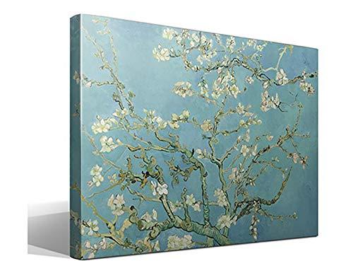 Cuadro Canvas Almendro en Flor de Vincent Willem van Gogh - Ancho: 95cm - Alto: 70cm - Bastidor: 3cm - Imagen alta resolucion - Impresion sobre Lienzo de Algodon 100% - Fabricado en Espana