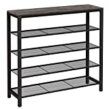 VASAGLE Shoe Rack, Shoe Storage Organizer with 4 Mesh Shelves and Large Surface for Bags, Shoe Shelf for Entryway Hallway Closet, Steel Frame, Industrial, Charcoal Gray and Black ULBS015B04