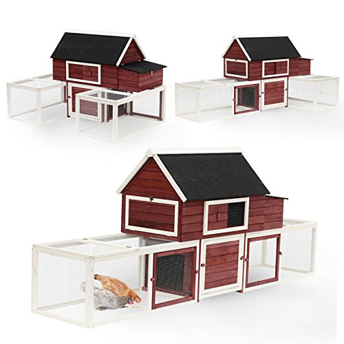 PawHut 114' Wooden Customizable Backyard Chicken Coop with...