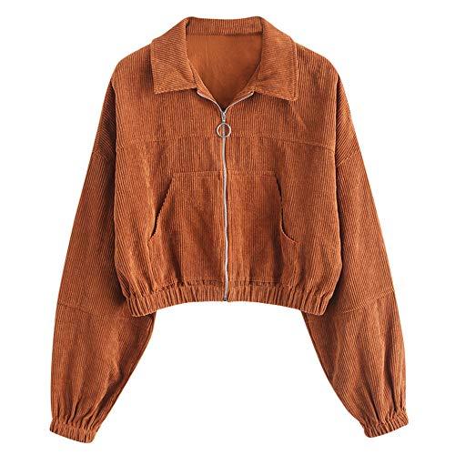 ZAFUL Damen 2 Taschen Langarm Manschette mit Gummiband kurz Jacke Braun XL