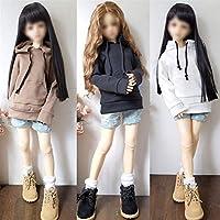 人形用ドレス 人形ソリッドカラーフード付きのセーターBJD人形の服のための単一の販売のファッションウェアアクセサリー玩具 YXJJP (Color : ZJF160 1, Size : For 26 28cm doll)