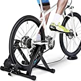 Yaheetech Magnetic Turbo Trainer Bike Trainer Foldable Bicycle Training Stand with Variable Speed Levels & Wire-Control Black
