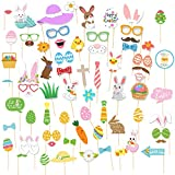 79 Pcs Easter Photo Booth Props Kit Easter Bunny Colorful Eggs Flower Spring Grass Kids Adults Easter Party Selfie Props Baby Shower Birthday Party Easter Party Decor Supplies
