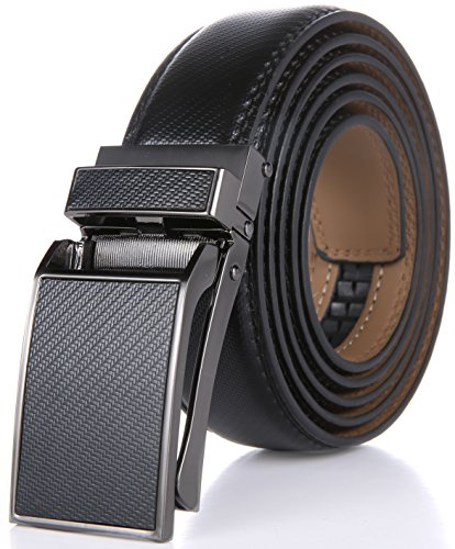 Image of the Marino Avenue Men's Genuine Leather Ratchet Dress Belt with Linxx Buckle - Gift Box (Pattern Design - Black, Adjustable from 28