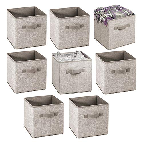 mDesign Small Soft Fabric Closet Organizer Cube Bin Box - Front Handle - Storage for Closet Bedroom Furniture Shelving Units - Textured Print 11 High - 8 Pack - LinenTan